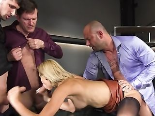 Supah Sexy Assistant Gets Tested By Her Decadent Co-employees