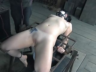 Ball-gagged Honey Caned And Canned During Bondage & Discipline