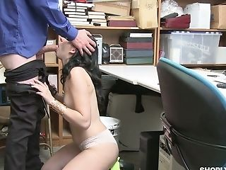 Shoplifting Brown-haired Violet Rain Gets Her Puss Penalized In The Back Room
