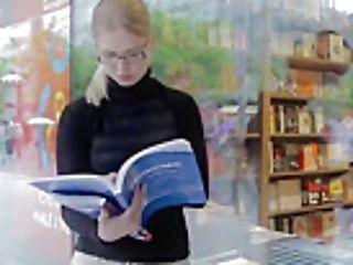 Nerdy Nubile Can't Concentrate On Reading Because She Is Horny