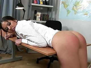 Lucy Bell Gets Disrobed And Rough Spanked By Her Insane Chief